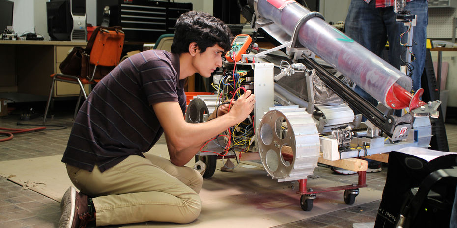 Undergrad student working on rover