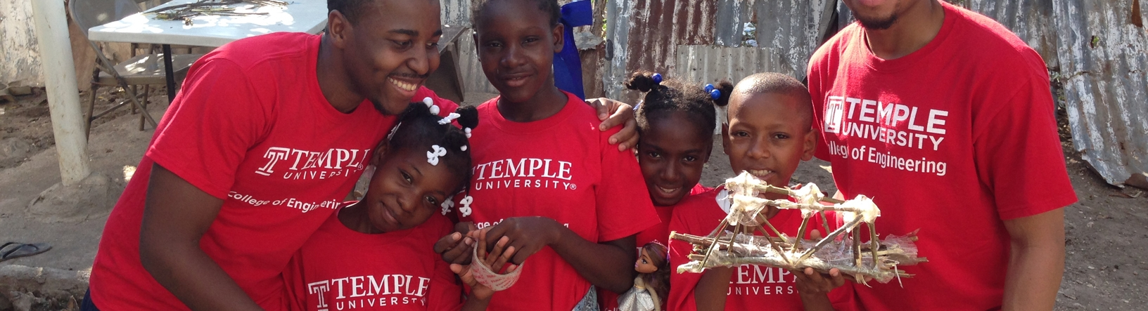 Temple engineering students with kids