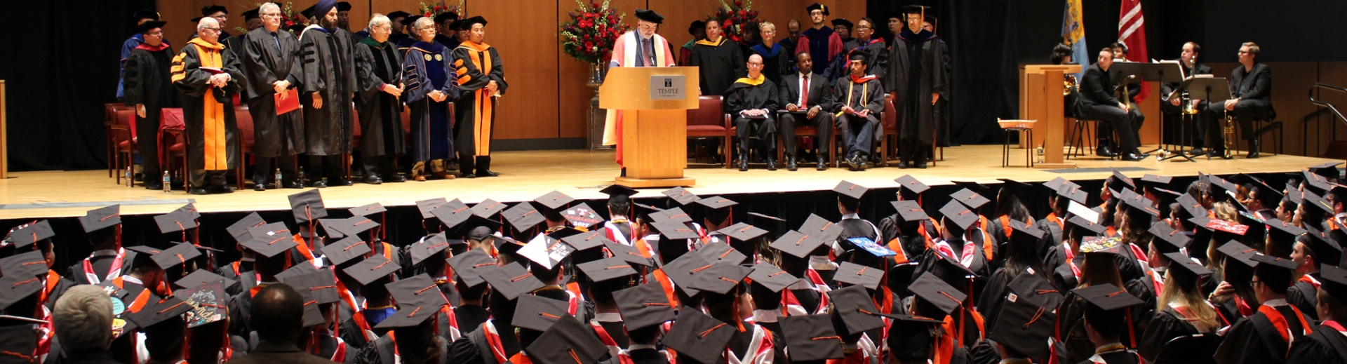 Keya Sadeghipour, dean of the college of engineering, speaking at graduation ceremony