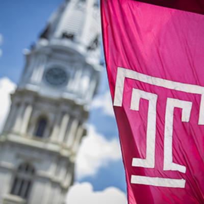 "Temple flag and Philadelphia City Hall"" /></Image>"