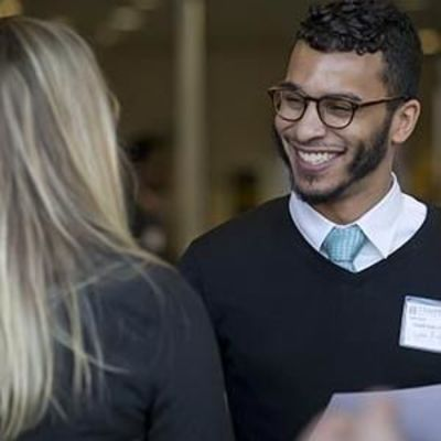 student and employer at Career Fair