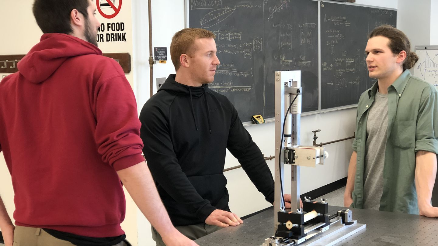 Student in mechanical lab